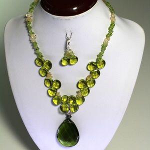 Handmade Genuine Natural Peridot & Necklace Free E
